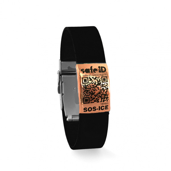 De Safe-iD SOS armband in zwart/rose