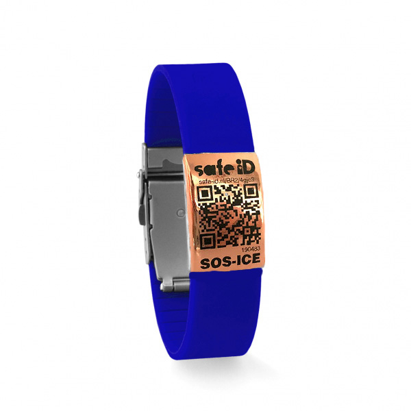 De Safe-iD SOS armband in blauw/rose