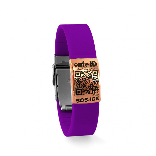 De Safe-iD SOS armband in paars/rose