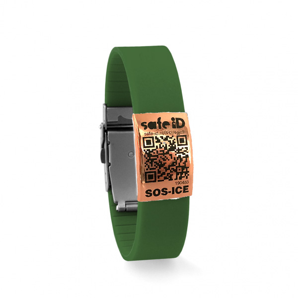 De Safe-iD SOS armband in legergroen/rose