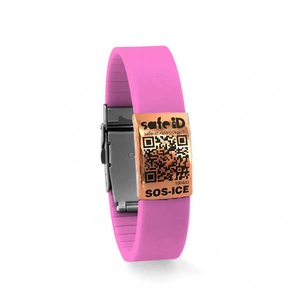 De Safe-iD SOS armband in roze/rose