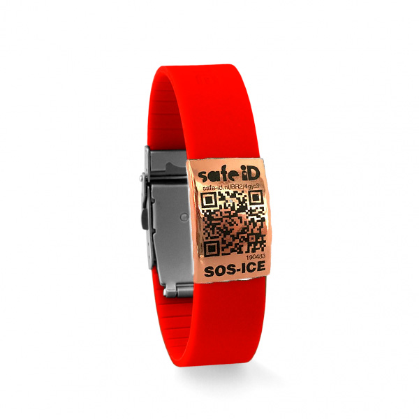 De Safe-iD SOS armband in rood/rose